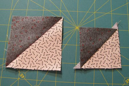 Big and Little triangles from one square.  Save the litte ones for another scrappy project.